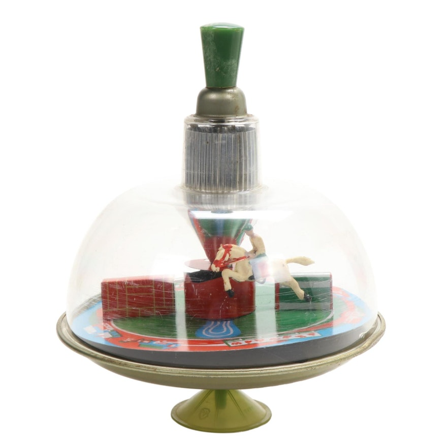 Steeplechase Horse Race Tin Litho Spinning Top Toy