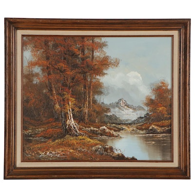 Autumnal Landscape Oil Painting, Late 20th Century