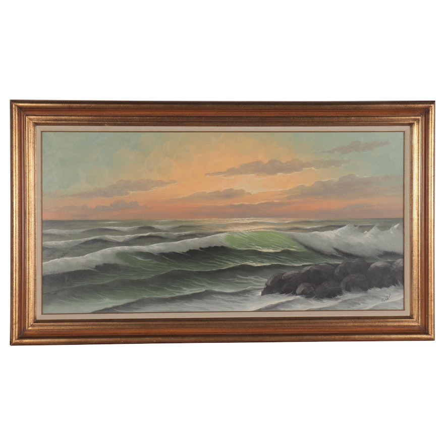 Landscape Oil Painting of Sea at Dawn