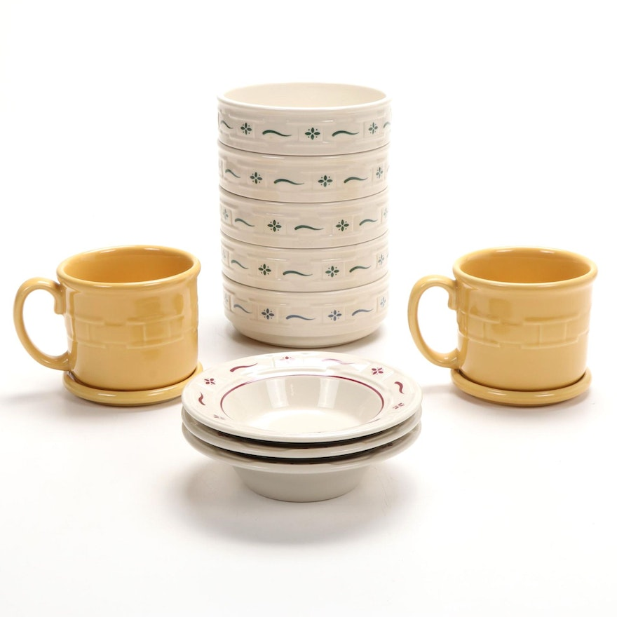 Longaberger Pottery Woven Traditions Bowls and Lidded Butterscotch Bowls