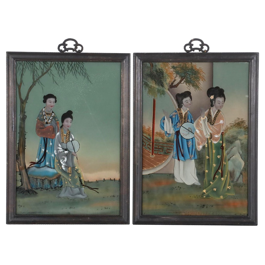 Japanese Reverse Glass Paintings of Women in Kimonos, Early 20th Century