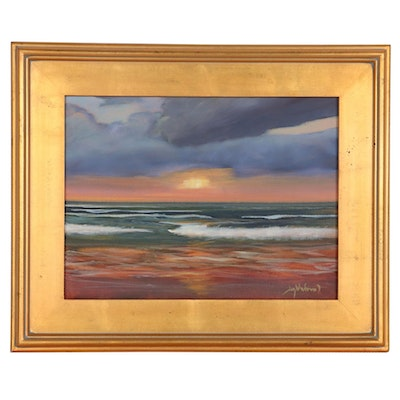 "Jay Wilford Oil Painting ""Sunset Beach,"" 21st Century"