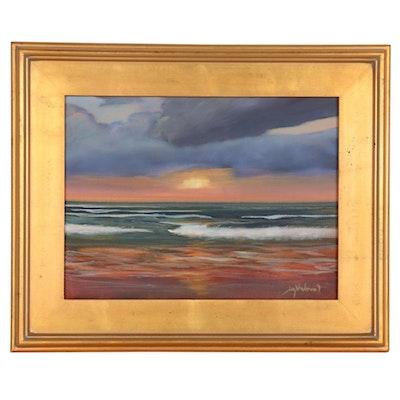 "Jay Wilford Oil Painting ""Sunset Beach,"" 21st Century"
