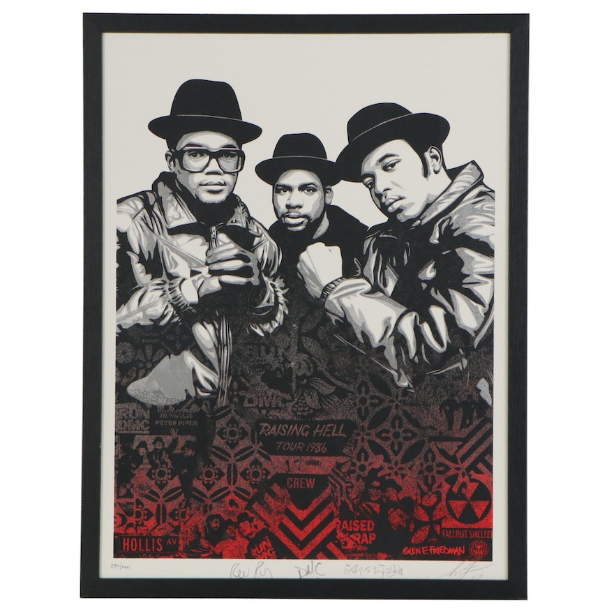 "Shepard Fairey and Glen Friedman Serigraph ""Run DMC Raising Hell"" with Autograph"