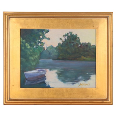"Jay Wilford Oil Painting ""Mill Pond,"" 21st Century"