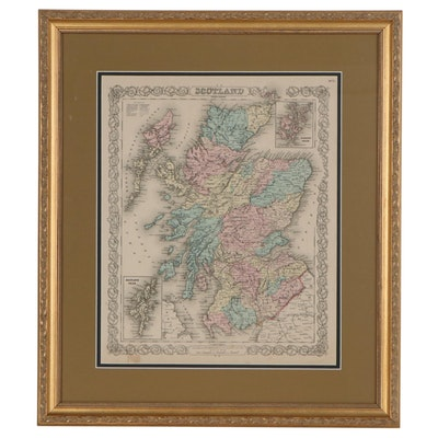 Hand-Colored Lithograph Map after Joseph Hutchins Colton of Scotland