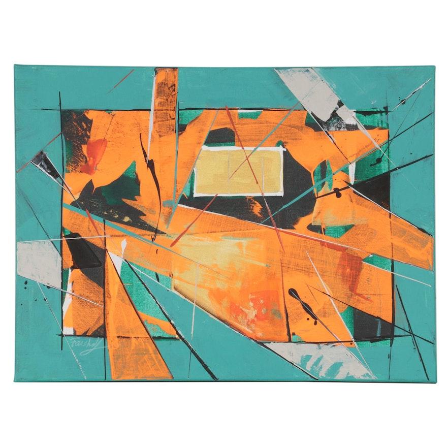 Farshad Lanjani Abstract Acrylic Painting, 21st Century