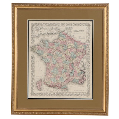 Hand-Colored Lithograph Map after Joseph Hutchins Colton of France