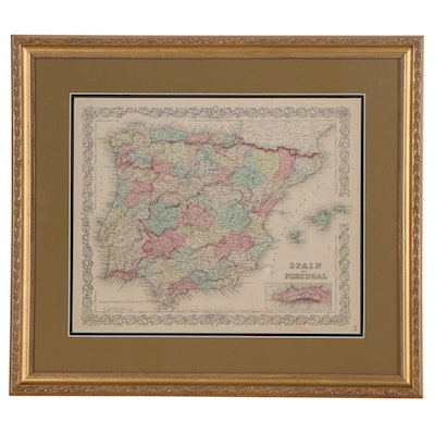 Hand-Colored Lithograph Map after Joseph Hutchins Colton of Spain and Portugal