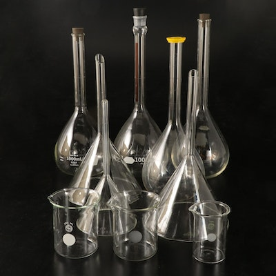 Kimble Kimax Volumetric Flasks, Pyrex Beakers and Funnels