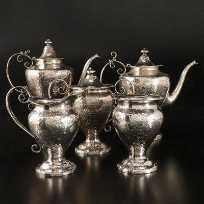 Robert W. Edwards Sterling Silver Tea and Coffee Service, Mid/Late 19th Century