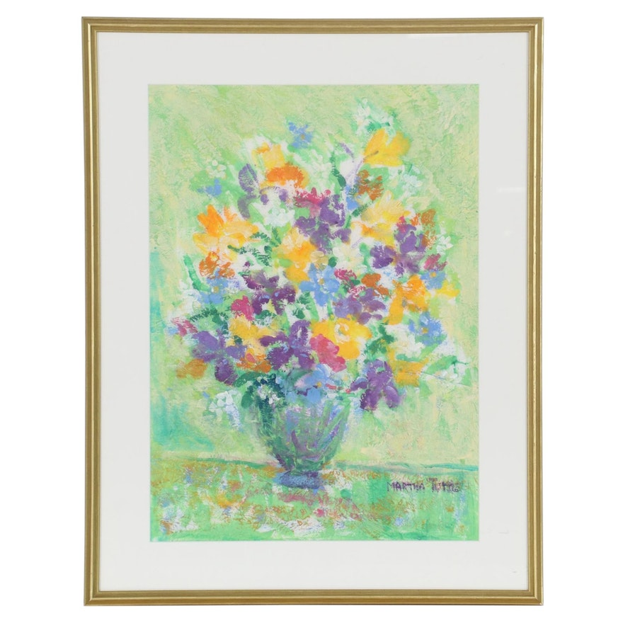 Martha Tuttle Floral Still Life Acrylic Painting, Late 20th Century