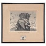 "Maynard Reece Etching ""Callie"" with Migratory Bird Hunting Stamp, 1959"