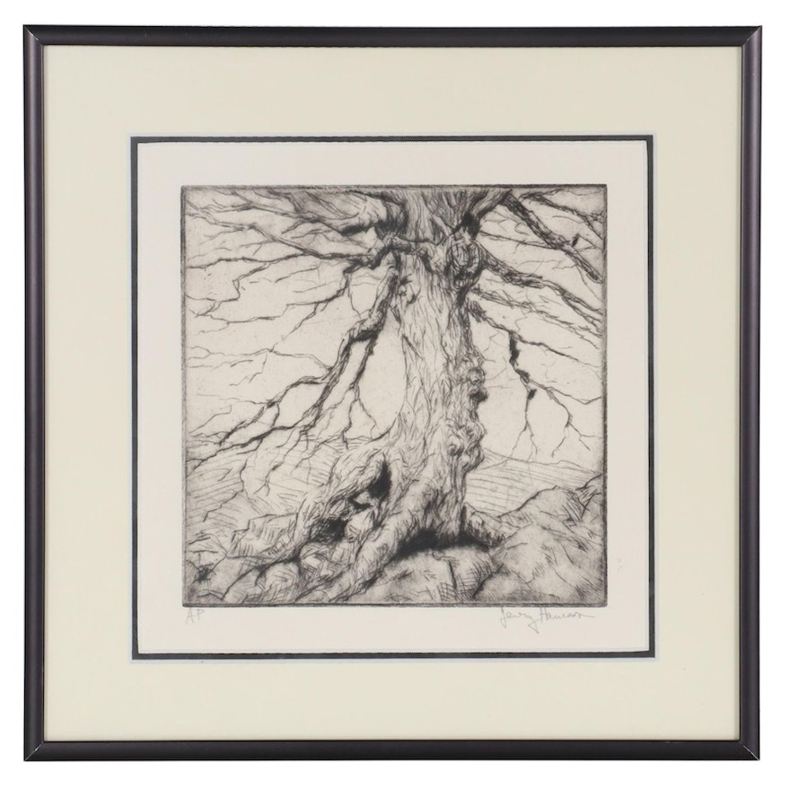 Etching of a Tree, Late 20th Century