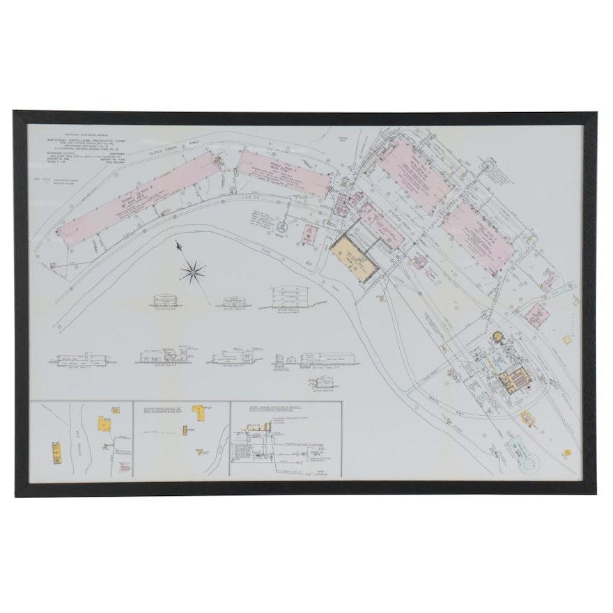 Digital Print Map of Kentucky's Old Taylor Distillery, 21st Century