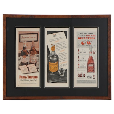 Offset Lithographs and Halftone Advertisements for Whiskey, Mid-20th Century