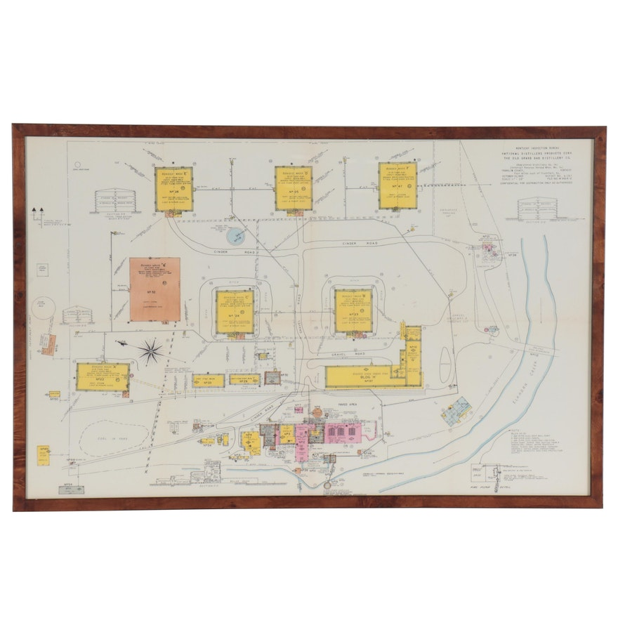 Digital Print Map of Kentucky's The Old Grand Dad Distillery, 21st Century