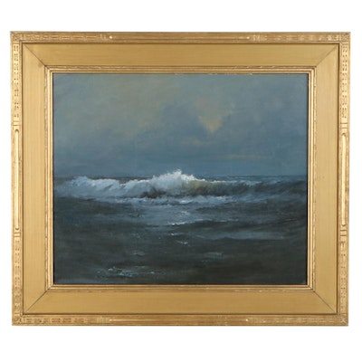 "Robert Alan Waltsak Seascape Oil Painting ""Jersey Shore,"" 2018"