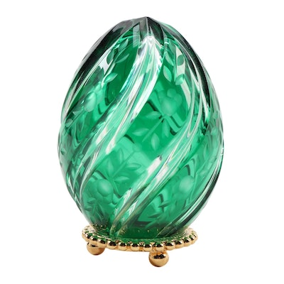 Green and Clear Crystal Faberge Style Egg