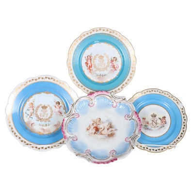 Sèvres Château des Tuileries Napoleonic Porcelain Plates and Other Music Box