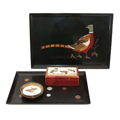 Couroc Pheasant and Coin Trays, Lynn Bogue Hunt Game Bird Coasters and More