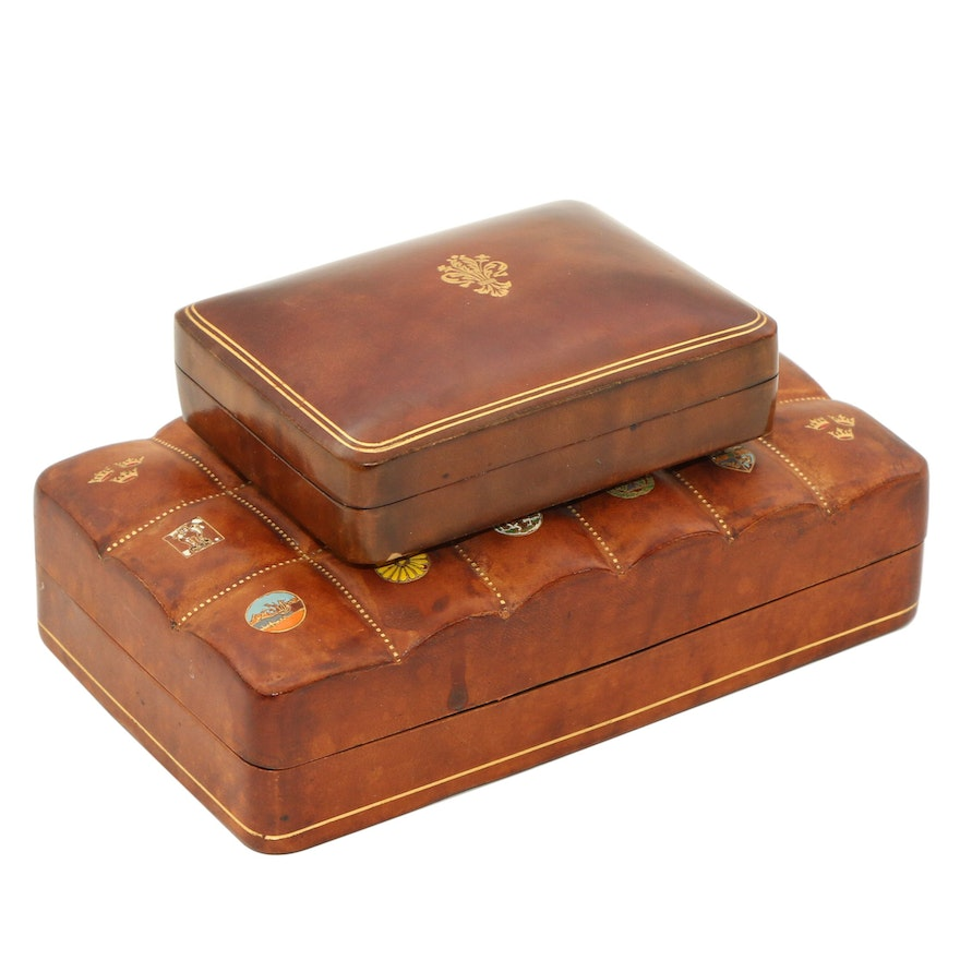 Swedish American Line Cigarette and Other Florentine Leather Boxes, Mid-20th C.
