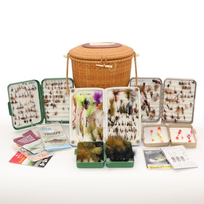 Fly Fishing Accessories Including Flies, Baskets and Thematic Needlepoint Pillow