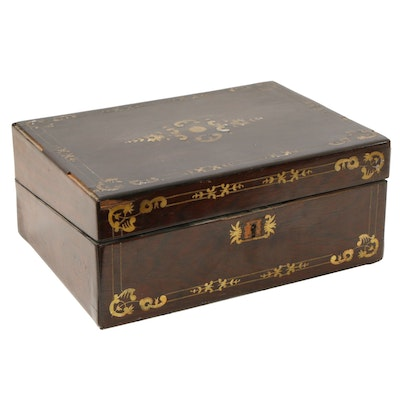 English Walnut Box with Brass Inlay, Mid to Late 19th Century