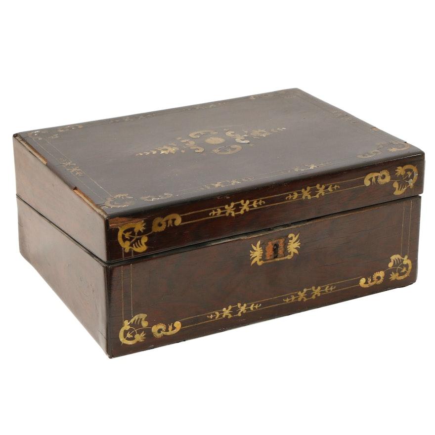 English Walnut Box with Brass Inlay, Mid to Late 19th Century