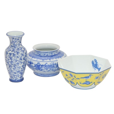 "Lynn Chase ""Costa Azzurra"" Porcelain Bowl, and Kangxi Style Vases"