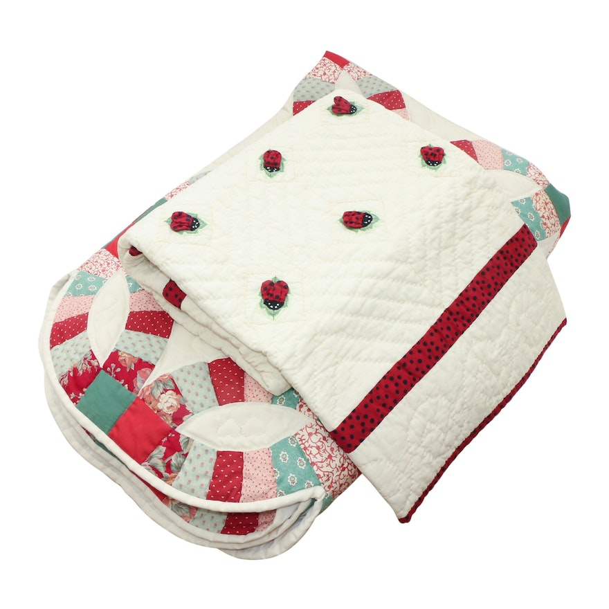 """Donna Sharp Handmade Lady Bug Quilt and Other """"Double Wedding Ring"""" Pieced Quilt"""