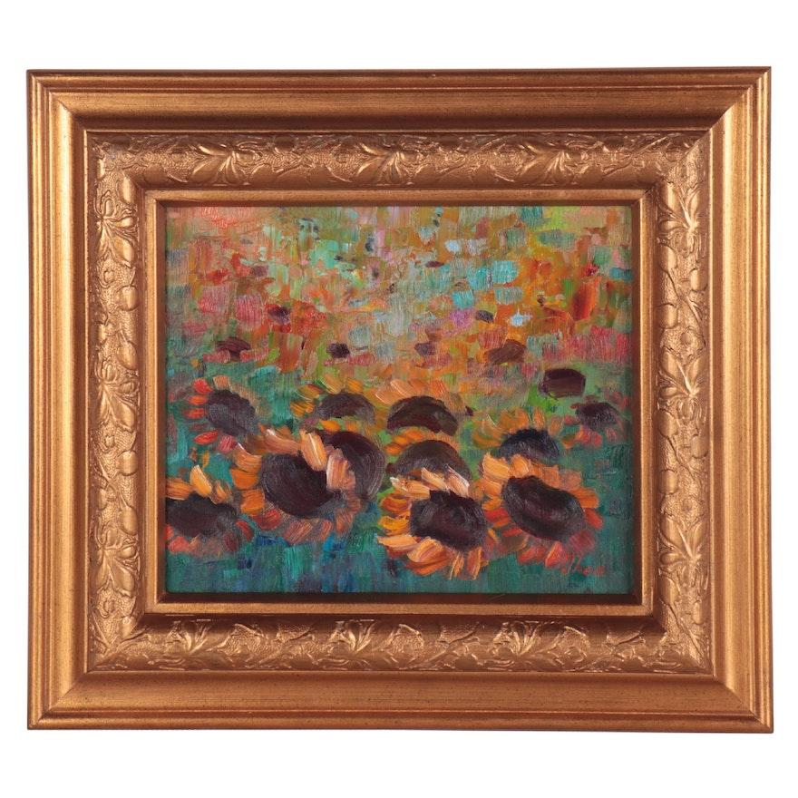 "Thea Mamukelashvili Oil Painting ""Sunflowers,"" 2021"