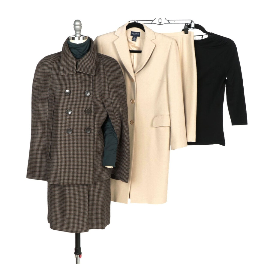 Ann Taylor Beige Skirt Suit, Sinéquanone Skirt Suit and Dana Buchman Black Top