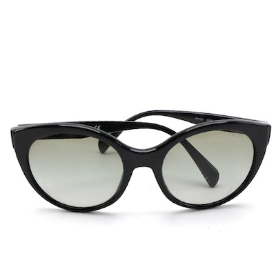 Prada SPR230 Black Modified Cat Eye Sunglasses with Case and Box