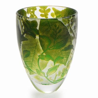 "Jonathan Harris Art Glass ""Olive & Jade Foliage"" Cameo Glass Vase, Contemporary"