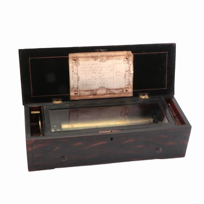 Fruitwood Inlay Walnut and Grain-Painted Swiss 8-Tune Cylinder Music Box