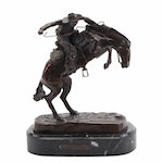 "Bronze Sculpture after Frederic Remington ""Wooly Chaps,"" Late 20th Century"
