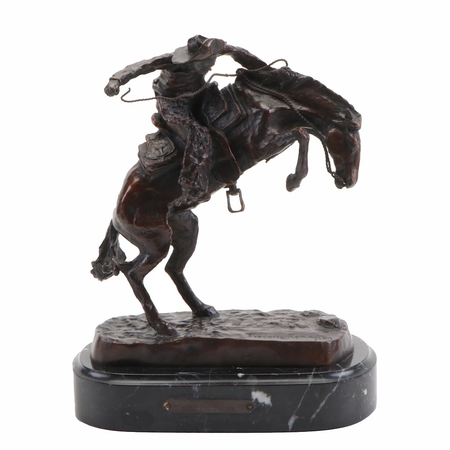 """Bronze Sculpture after Frederic Remington """"Wooly Chaps,"""" Late 20th Century"""