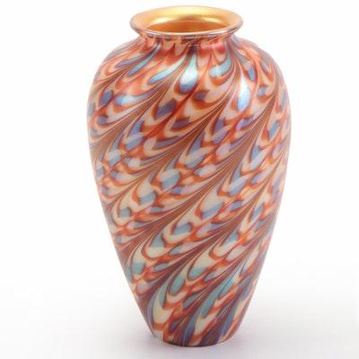 Steven Lundberg Gold Aurene, Orange and Blue Pulled Feather Art Glass Vase