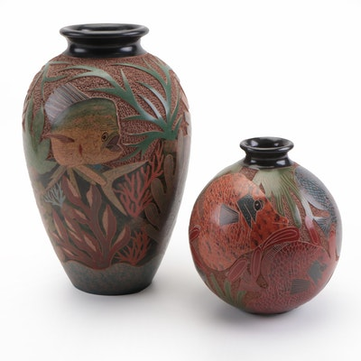 Douglas Lopez Aleyda Cano and Nicaraguan Carved Sea Life Vases