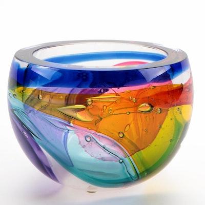 Leon Applebaum Handblown Lava Art Glass Bowl