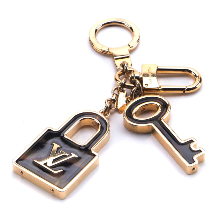 Louis Vuitton Confidence Key Ring and Bag Charm with Tortoiseshell Resin Inlays
