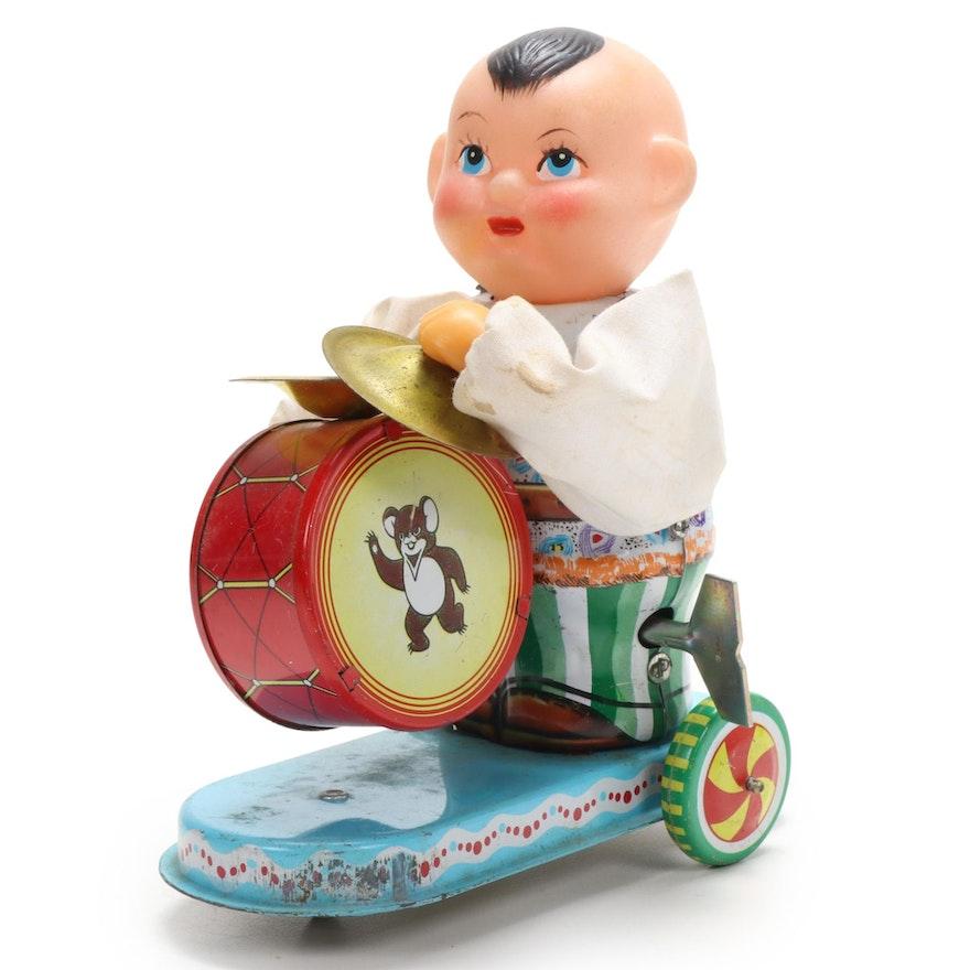 "Clockwork ""Child Beating Drum"" Tin Litho Wind-up Toy"