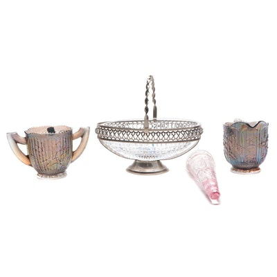"Imperial ""Pansy"" Carnival Glass Creamer and Sugar Bowl with Other Décor"