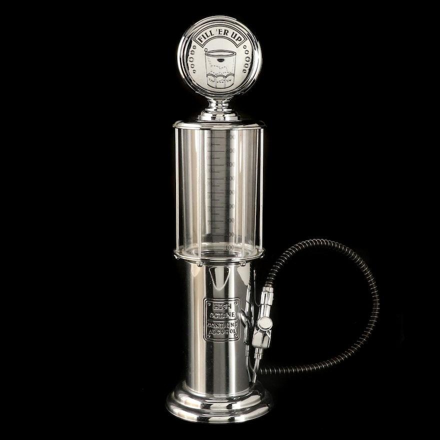Godinger Silver Art Co. Chrome Gas Pump Form Liquor Decanter