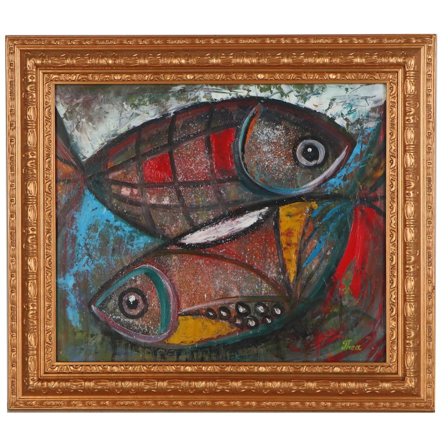 "Thea Mamukelashvili Oil Painting ""Abstract Fish,"" 2021"
