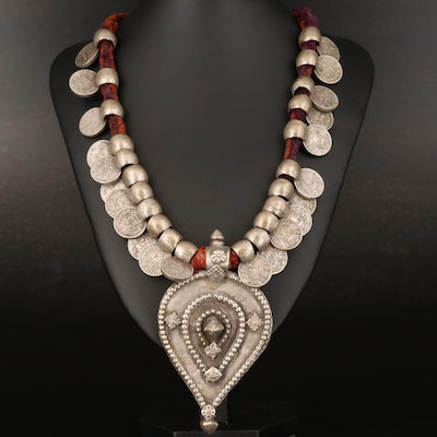 Indian Necklace with State of Kutch 1-Kori Coins and Sterling Yoni Amulet