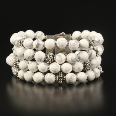 Michael Dawkins Sterling Magnesite Beaded Bracelet