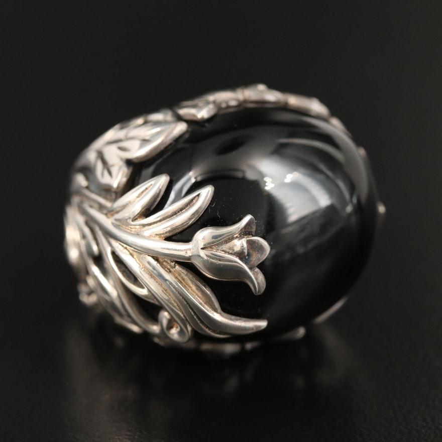SeidenGang Sterling Black Onyx Foliate Ring