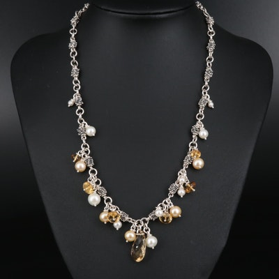 Michael Dawkins Citrine and Pearl Drop Necklace in Sterling